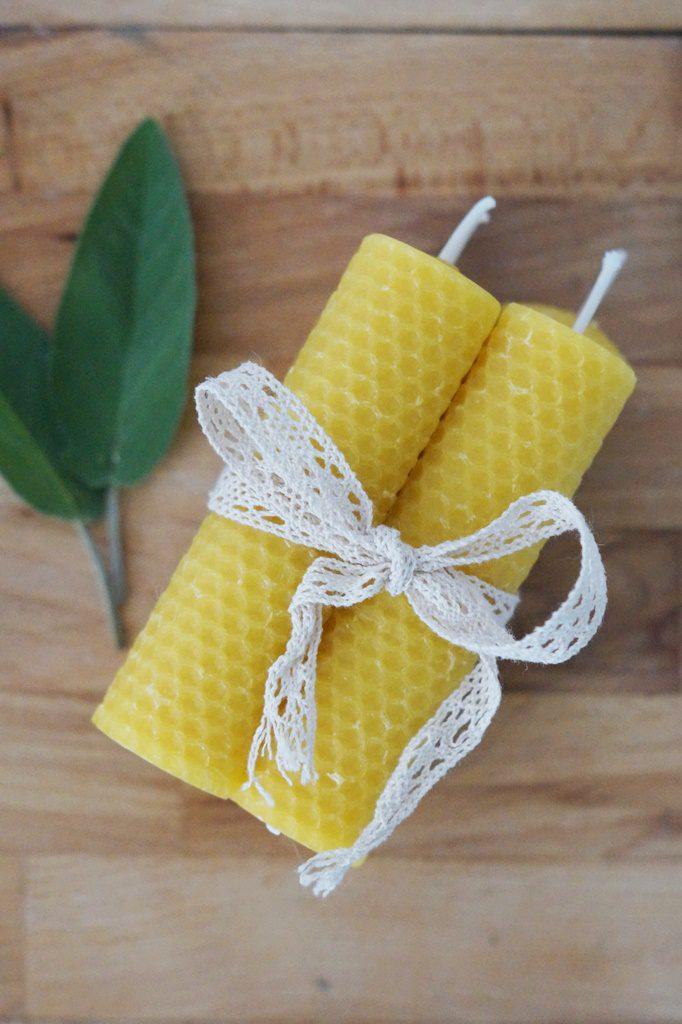 Kerzen aus Bienenwachsplatten